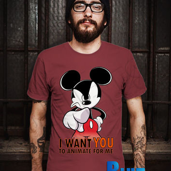 Mickey Want You To Animate Men T-Shirt - Mickey Want You - Mickey Mouse T-Shirt - Disney Design T-Shirt for Men (Various Color Available)