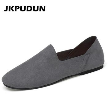JKPUDUN Brand Summer Causal Slipon Shoes Men Penny Loafers Genuine Leather Moccasins Men Flat Driving Boat Shoes Gray Zapatillas