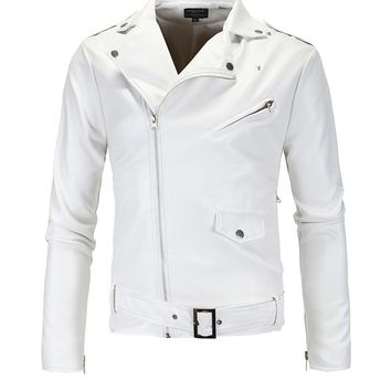 Streetstyle  Casual White Leather Men Motorcycle Jacket