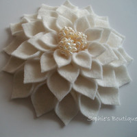 FREE SHIPPING White Dahlia Felt Flower Brooch by sophiesboutique