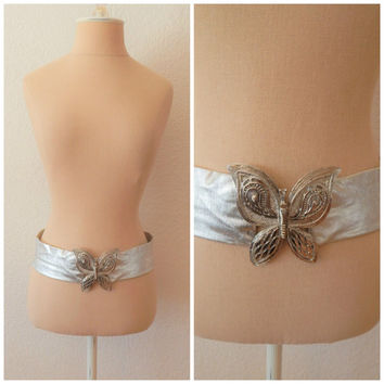 Womens Vintage 70s Disco Metallic Silver Lame Butterfly Belt Waist 35""