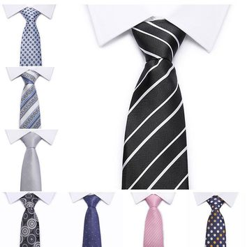 2017 New Wide Silk Ties for Men Striped Solid  Men's Neckties Business Wedding Suit Neck Tie Red Black White Gravatas NT