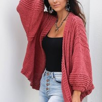Without Me Rose Chenille Cardigan