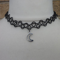 Vintage 80's 90's Tattoo Grunge Goth  Rocker Punk Wicca Be-witching Moon Stretch Choker Necklace