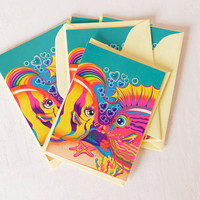 Vintage Lisa Frank Note Cards with Envelopes, Kissing Fish Blank Inside