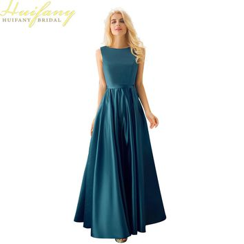 Cheap Simple Satin Long Wedding Guest Dresses Boat Neck Floor Length 2017 Bridesmaid Dresses Navy Blue Maid of Honor Dresses