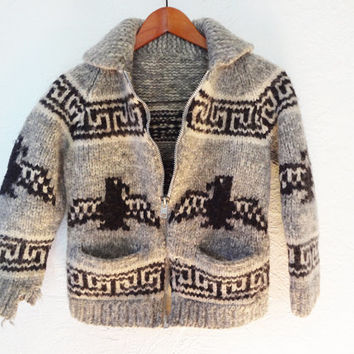 Vintage Cowichan Native American Salish Sweater - small -