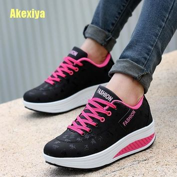 Akexiya Fashion Women Height Increasing Summer Breathable Waterproof Wedges Sneakers Platform Shoes Woman Pu Leather Casual Shoe