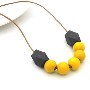 GREY YELLOW wood Geometric necklace with Beaded milimalist statement leather cord everyday long rope NW720