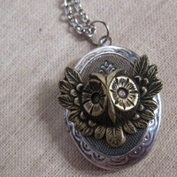 Nature Vintage Victorian Inspired. Antiqued Silver Locket. Aged Brass Woodlands Owl. Rhodium plated Long Necklace