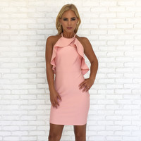 Pink Party Ruffle Bodycon Dress