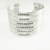 Divergent Inspired Cuff Bracelet Choose your Faction Divergent, Dauntless, Candor, Amity, Abnegation, Erudite
