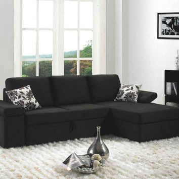 Divani Casa Avalon Brown Fabric Sectional Sofa Set with Bed