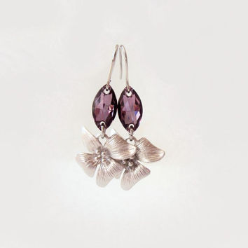 Pink Floral Earrings, Romantic Lilac Earrings, Summer, Everyday Jewelry, Nature Earrings, Delicate, Feminine, SIlver Flower Earrings, Pink