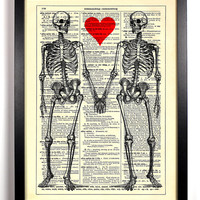 Till Death Do Us Part Skeleton Love Heart Book Print Upcycled Book Art Upcycled Vintage Book Print Antique Dictionary Buy 2 Get 1 FREE