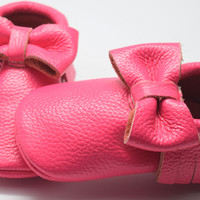 Pink Lava- Bow Baby Moccasins