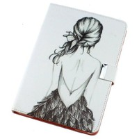 Flip Man Made Leather Sketch Figure Girl White Case Cover Stand Pouch for Apple IPad 2 3 4 Match flower hanger