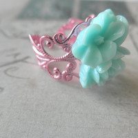 Vintage Look Pink Filigree and Mint Green Rose Adjustable Ring
