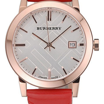 Burberry The City Classic Silver Dial Red Bracelet 622567