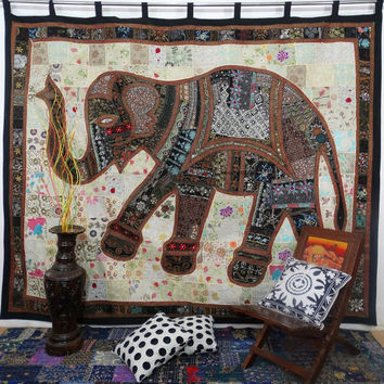 Huge Sari Patchwork Tapestry Large Patchwork Curtain Hnadmade Elephant Patchwork Wall Hanging