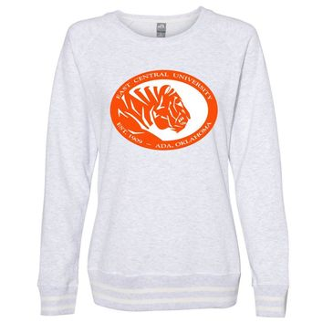 Official NCAA East Central Tigers PPEASTU04 Women's Crewneck Sweatshirt with White Striped Edges