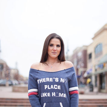 There's no place like home Off the Shoulder Comfy Couture Eco Fleece Sweatshirt Womens st pats day shirt