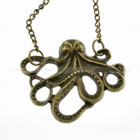 Octopus necklace, retro necklace, vintage octopus necklace