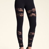 bebe Womens Lace Inset Power Leggings Black