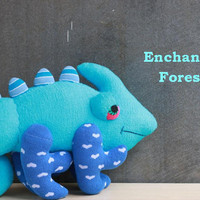 Handmade  Blue chameleon  Personalized  Stuffed Animal baby Plush Toy  sock doll   from Enchanted Forest  Ready to Ship