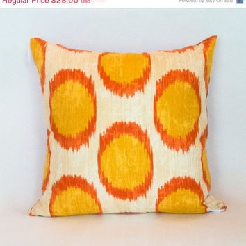 ChristmasinJulySALE Daffodil Ikat pillow slip cover for Spring