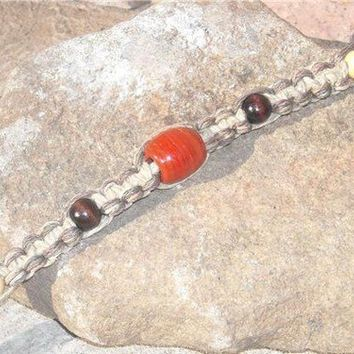 Unisex Hemp Necklace Orange Recycled Glass Bead Brown Natural Hemp Phatty