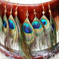 Handmade Peacock Feather Earrings Copper Wire Wrapped Wood Bohemian