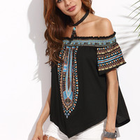 Multicolor Print Off The Shoulder Asymmetrical Blouse -SheIn(Sheinside)