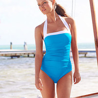 Lauren Ralph Lauren Ruched Tummy-Control Halter One-Piece Swimsuit