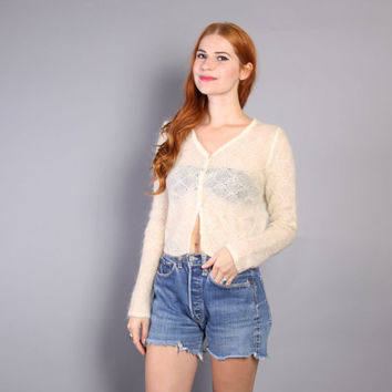90s Crochet CARDIGAN SWEATER / Cream Open Weave MOHAIR Cropped Cardi, M