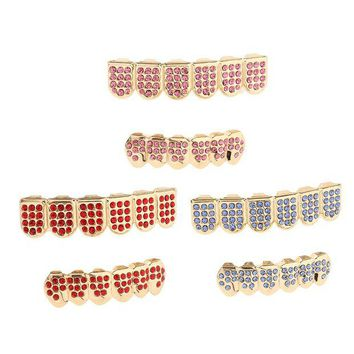 ac DCCKO2Q Rhinestone CZ Teeth Grills Mouth Caps Hip Hop Grills for Party Halloween Easter