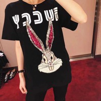 """Gucci"" Women Casual Cute Fashion Sequin Cartoon Rabbit Letter Print Short Sleeve T-shirt Top Tee"
