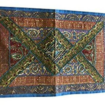Mogul Decor Tapestry Handmade Sequin Patchwork Table Runner Wall Throw 36X20