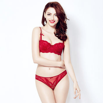 Sexy Lace Cup Bra Set Cotton Red Lingerie [6757931395]