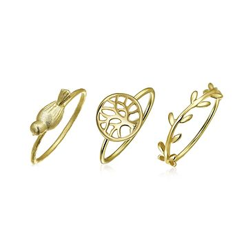 Bird Tree of Life Leaf Knuckle Ring Set 14K Gold Plate Sterling Silver