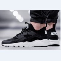 """NIKE""AIR Huarache Running Sport Casual Shoes Sneakers Black (white soles)"