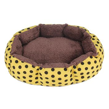 Soft Warm Plush Pet Dog Cat Bed Fleece Cozy Nest Puppy Mat Polka Dots Bed House For Small Dog Cats Random Color