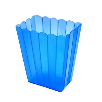Plastic Scalloped Container with Lines, 6-Inch, Clear/Royal Blue