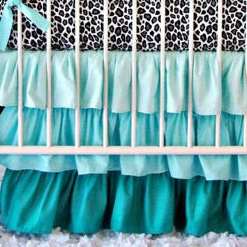 Caden Lane® Girly Aqua Leopard Crib Bedding Set