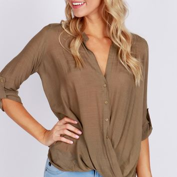 Button Up Cross Blouse Olive