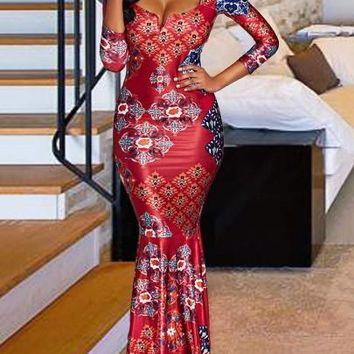 Red Square Neck Printing Women's Maxi Dress