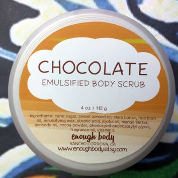 Chocolate Emulsified Sugar Scrub ~ Body Scrub ~ Exfoliating Scrub ~ Body Polish