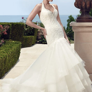 Casablanca Bridal 2150 Beaded Lace Halter Mermaid Wedding Dress