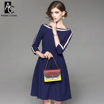 woman white red strip pattern sleeve slash dress