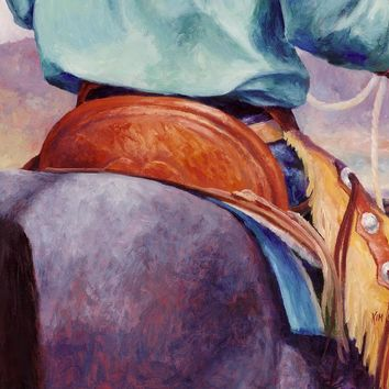 Toms Saddle Western Painting Cowboy Art Painting by Kim Corpany - Toms Saddle Western Painting Cowboy Art Fine Art Prints and Posters for Sale